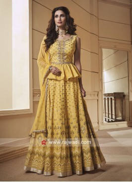 Silk Printed Choli Suit in Yellow