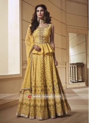 Silk Printed Choli Suit in Yellow