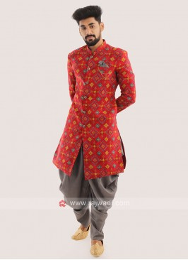 Silk Printed Indo western For Men