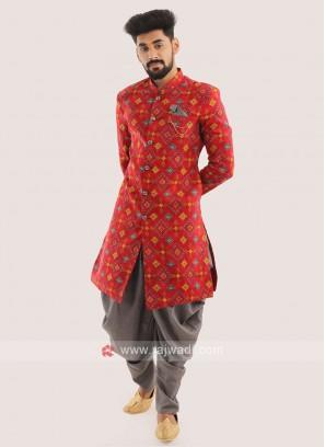 Silk Printed Indo western For Men