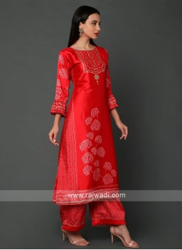 Silk Printed Palazzo Set In Red