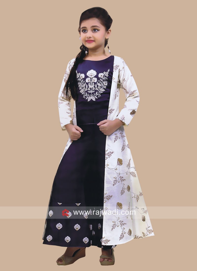 Silk Printed Palazzo Suit with Long Koti for Girls
