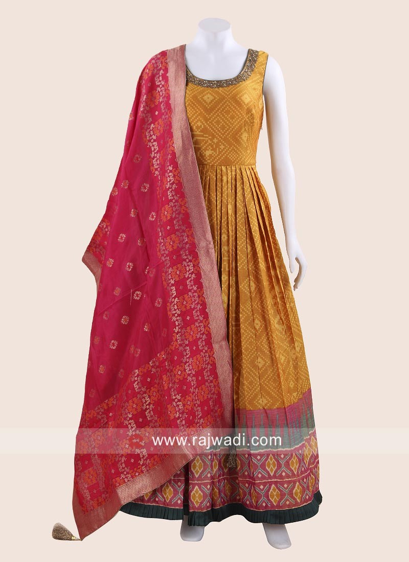 Silk Printed Pleated Anarkali in Golden