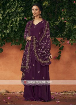 Silk dress material in purple color