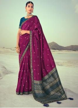 Silk Purple Embroidered Traditional Saree