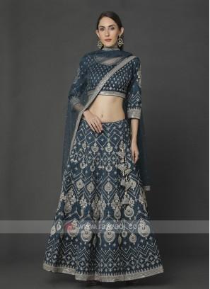 Silk Rama Blue Choli Suit