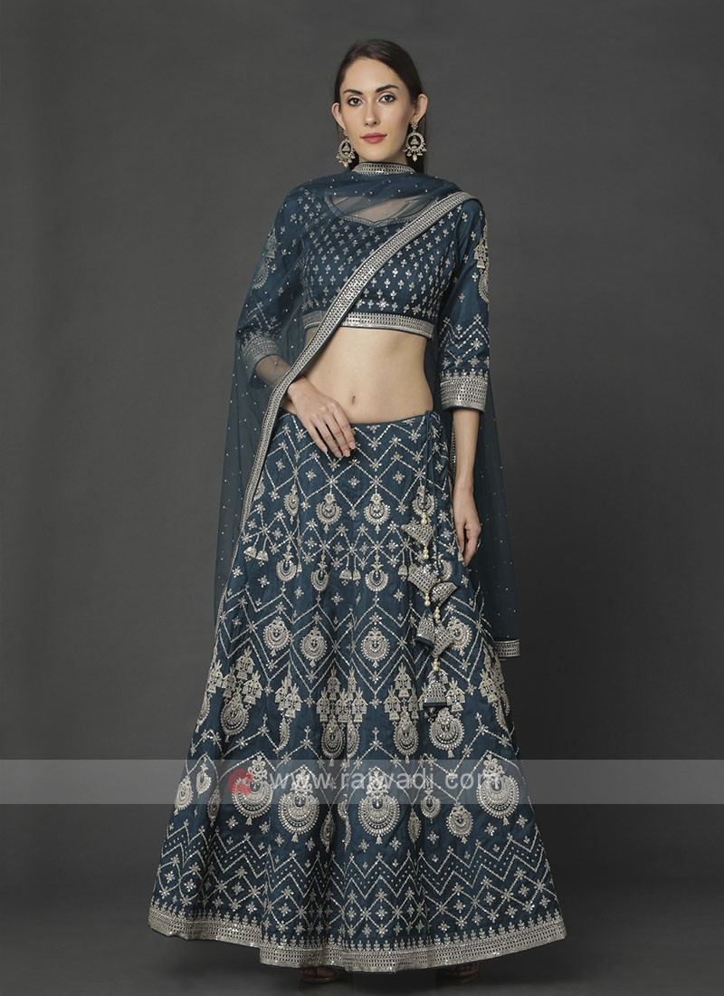 Silk Rama Blue Choli Suit