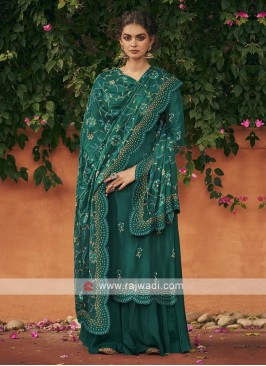 Silk dress material in rama green color