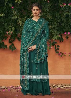 Silk dress material in rama green color