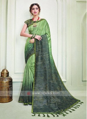 Silk Rama Green shaded Saree