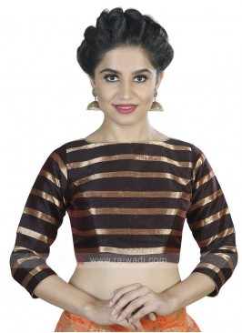 Art Silk Ready Blouse In Brown
