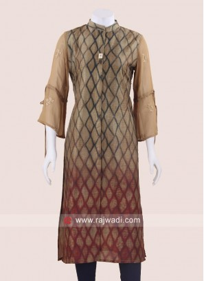 Silk Shaded Kurti with Sleeves