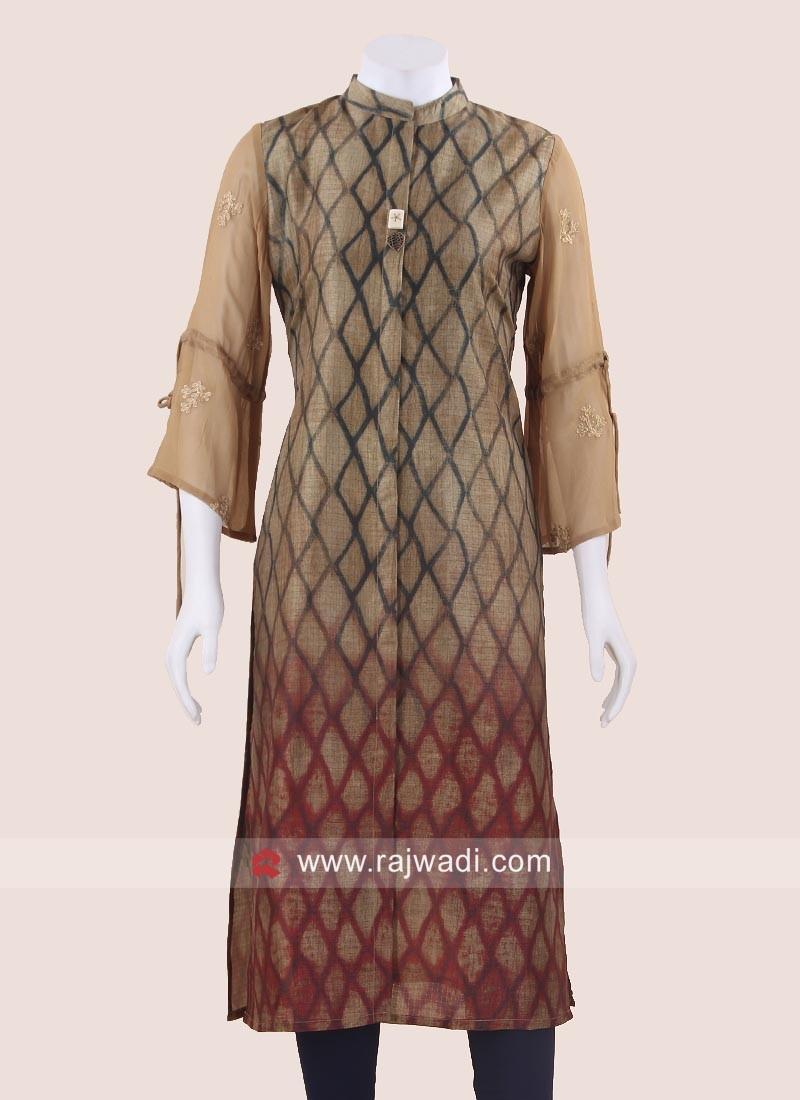 Silk Shaded Kurti with Sleeves