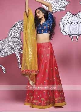 Silk Red And Blue Lehenga Choli