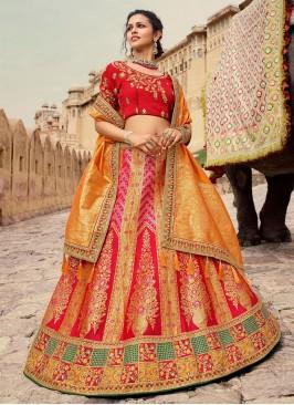 Silk Red and Yellow Lehenga Choli