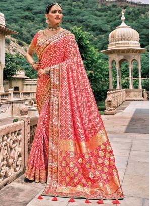 Silk Resham Traditional Saree in Pink