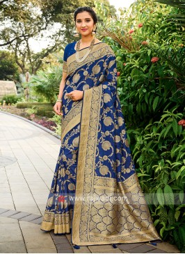 Silk Saree In Blue Color