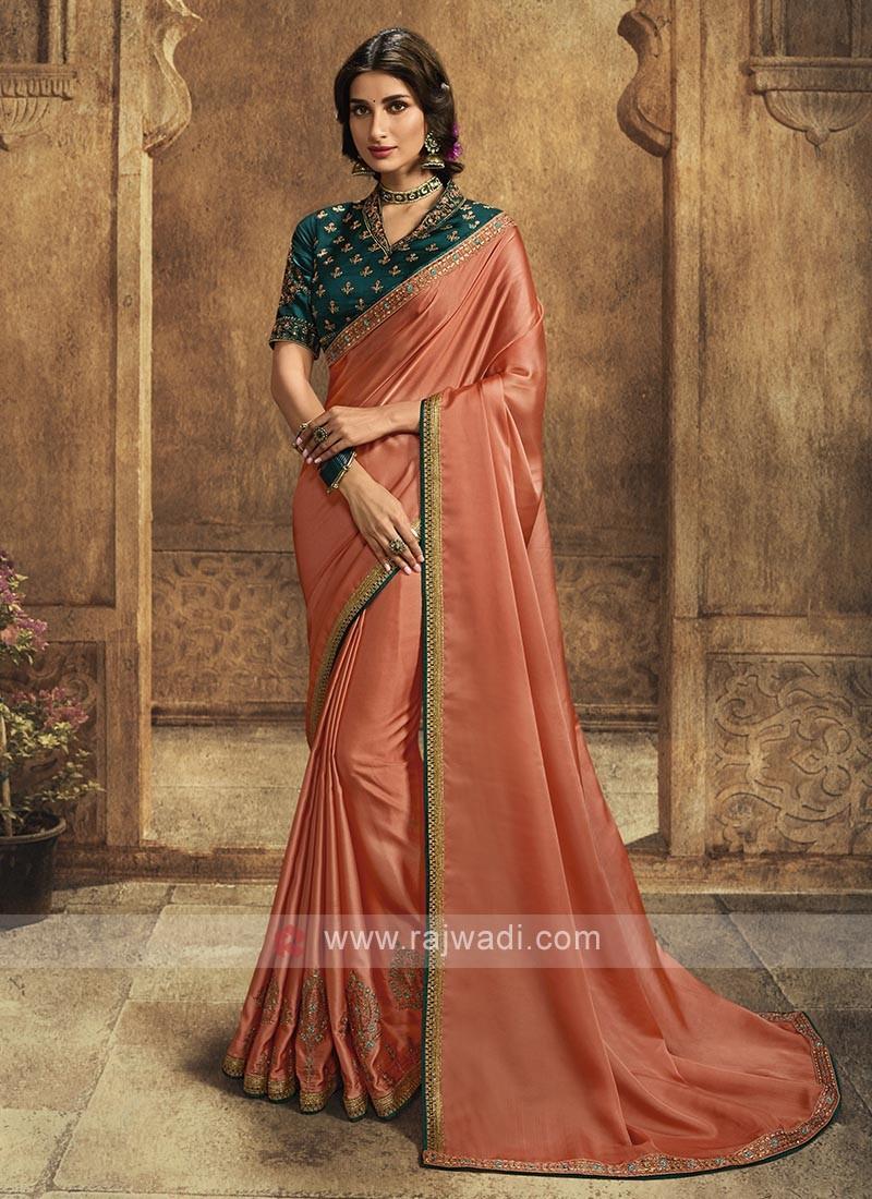 Silk Saree In Coral Color