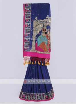 Silk saree in dark blue color