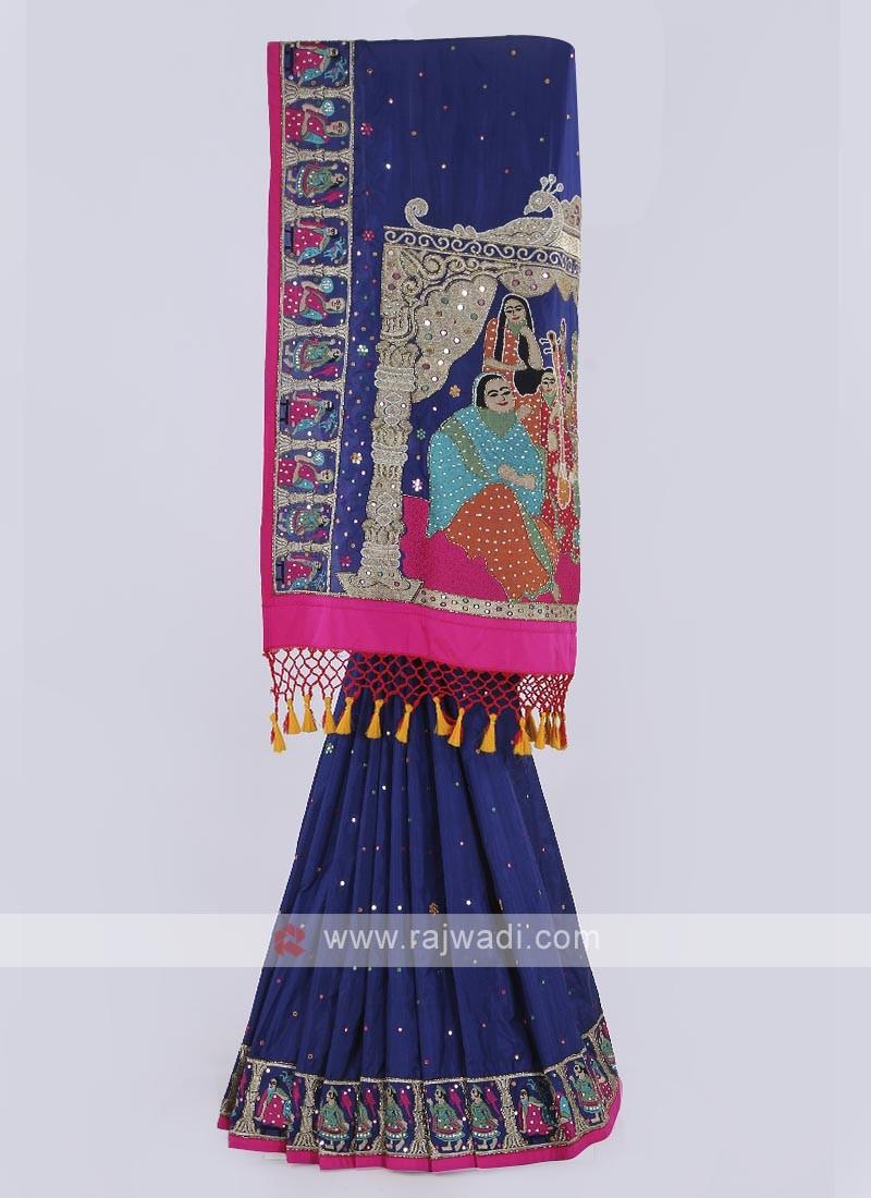 Silk saree in dark blue color