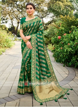 Silk Saree In Green Color
