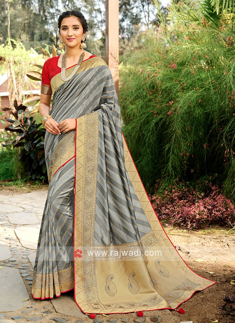 Silk Saree In Grey Color