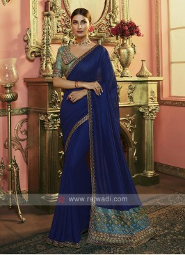 Silk Saree In Navy Blue Color