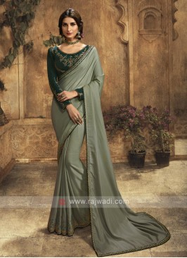 Silk Saree In Olive Color