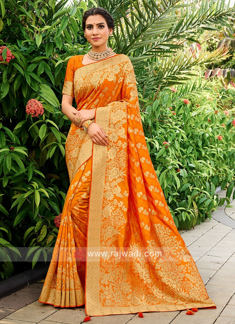 Silk Saree In Orange Color