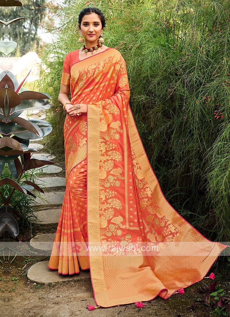 Silk Saree In Light Orange Color