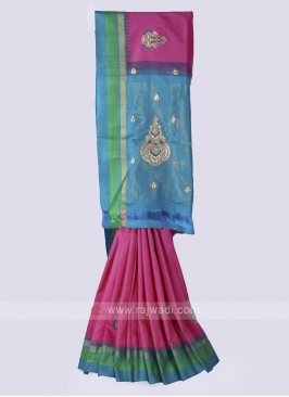 Silk saree in pink and rama blue color