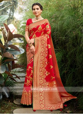 Silk Saree In Red Color
