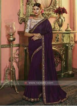 Silk Saree In Wine Color