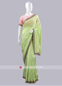 Silk Saree with Lace Border