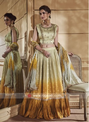 Silk Shaded Choli Suit with Bandhani Dupatta