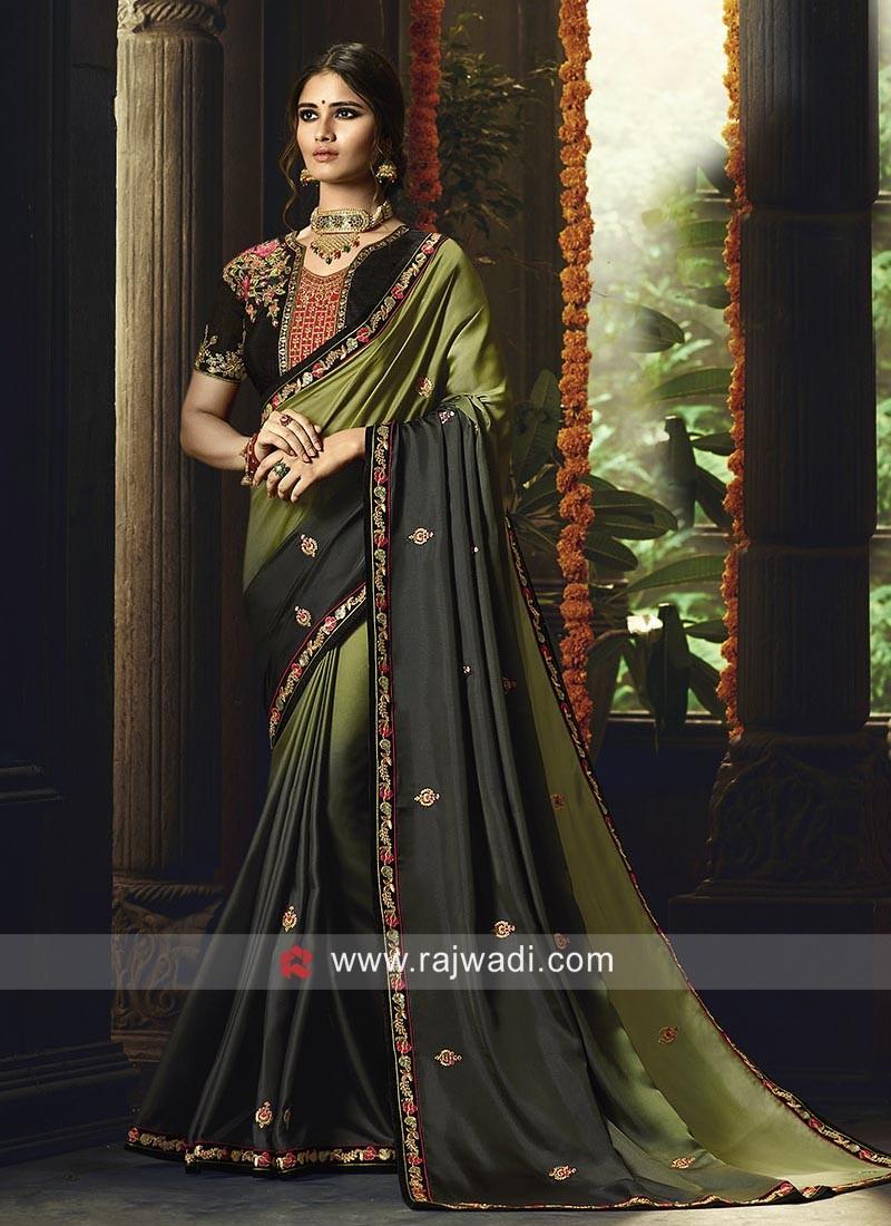 Silk Shaded Saree with Heavy Blouse