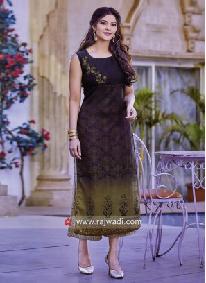 Silk Shaded Straight Fit Kurti