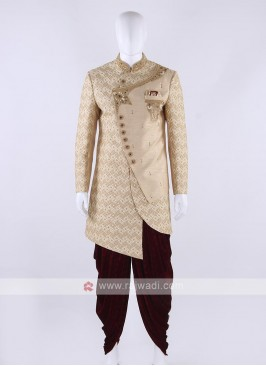 Silk sherwani in cream color
