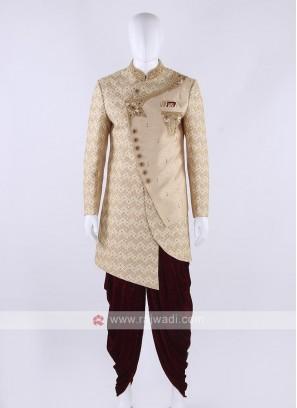 Silk sherwani in cream color
