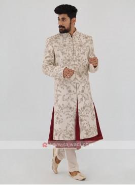 Silk Sherwani In Off-White