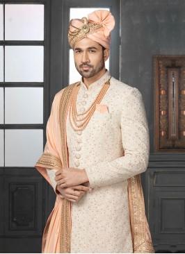 Silk Sherwani In Off-White Color