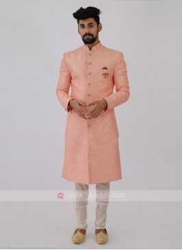 Silk Sherwani In Pink