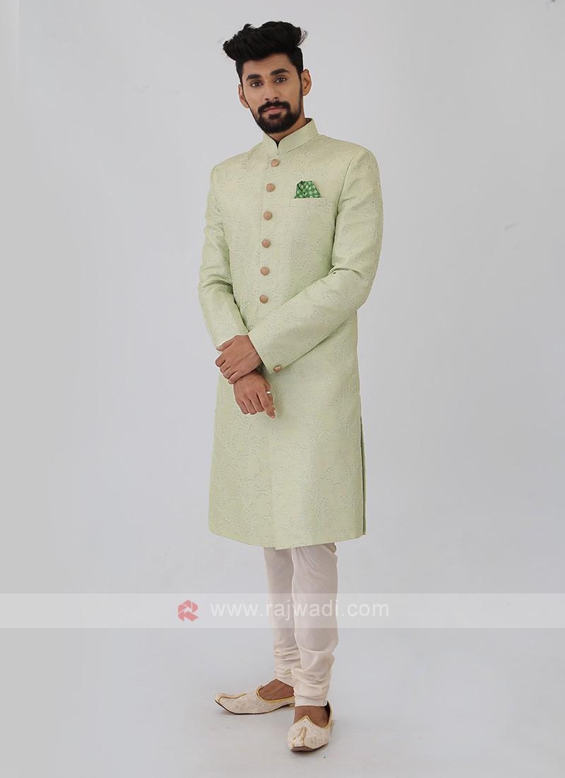 Silk Sherwani In Pista Green