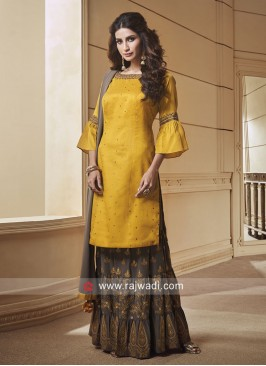 Silk Stone Work Gharara Suit with Dupatta