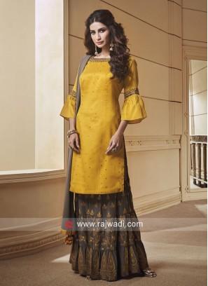 Silk Stone Work Gharara Suit with Dupatta