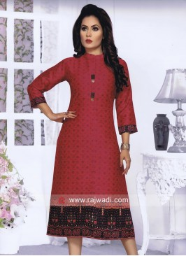Silk Straight Fit Kurti in Dark Peach