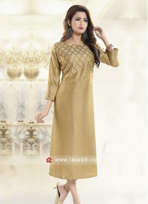 Silk Straight Fit Readymade Kurti