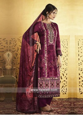 Silk Straight Salwar Kameez