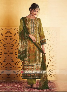 Silk Straight Salwar Suit with Dupatta