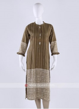 Silk striped kurti in dark goldenrod color